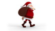 Cartoon Santa Claus with gift bag walking on the spot - right
