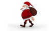 Cartoon Santa Claus with gift bag walking on the spot - left