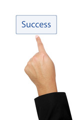 isolated hand pointing to success