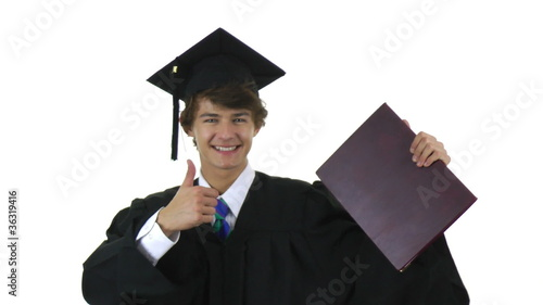 graduate with a thumbs up sign