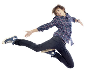 Portrait of young jumping boy
