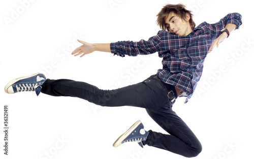 Portrait of young jumping boy by jura, Royalty free stock photos ...
