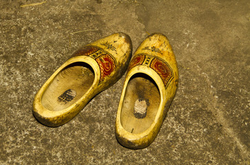 Pair of wooden shoes