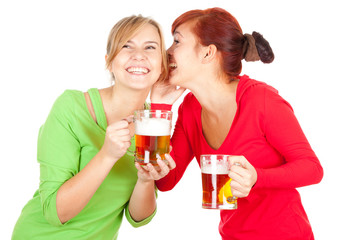 happy girls friends with beer, white background