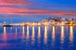 Leinwanddruck Bild - Ibiza island night view of Eivissa town