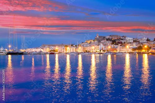 Leinwanddruck Bild Ibiza island night view of Eivissa town