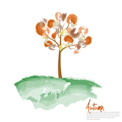 Autumn tree painting. Vector illustration.