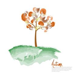 Autumn tree painting. Vector illustration.