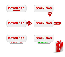 Set of website download buttons.Vector illustration.