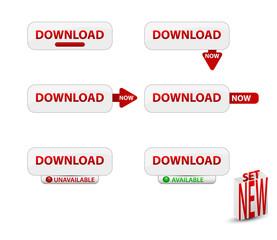 Set of website download buttons.Vector illustration.
