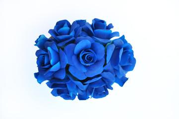 Composizione flori blu in porcellana di Capodimonte