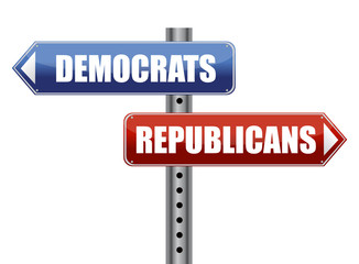 Democrats and Republicans election choices illustration