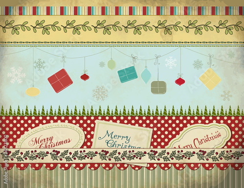 Christmas Set: Background, Borders, Labels, Gifts