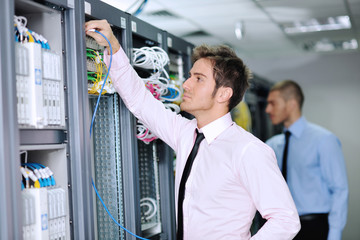 it engineers in network server room