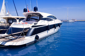 Luxury yachts in Formentera marina