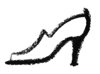 sketched ladys shoe