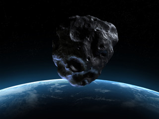3d rendered armageddon scene with an asteroid