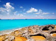 Rocky shore of formentera turquoise sea