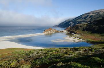 Fog covering Big Sur coastline in California