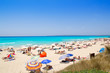 Formentera migjorn Els Arenals beach in summer