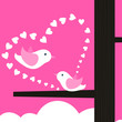Love and a bird on a pink background