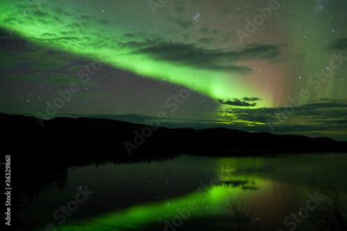 Night Sky Stars Clouds Northern Lights mirrored