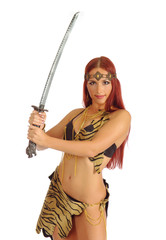 warrior woman holding sword in her hand