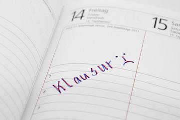 Klausur im Kalender notiert