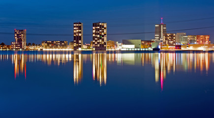 Reflection of a city at night, Almere, Holland
