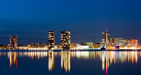 Modern architecture at night, Almere, Holland