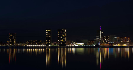 Skyline of a city at night, Almere, Holland