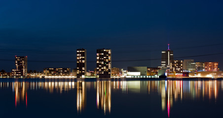 Illuminated skyline, Almere, Holland