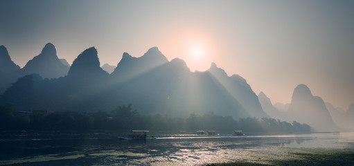 Misty sunrise at Lijiang River Guilin Guangxi China