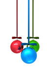 Three color christmas balls on white background