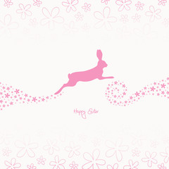 Easter Bunny & Flower Swirl Pink
