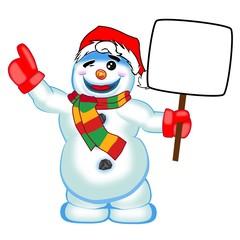 Schneemann mit Werbeschild