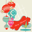 Christmas background, scrap booking elements