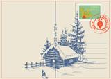 Fototapety Christmas card winter nature scene
