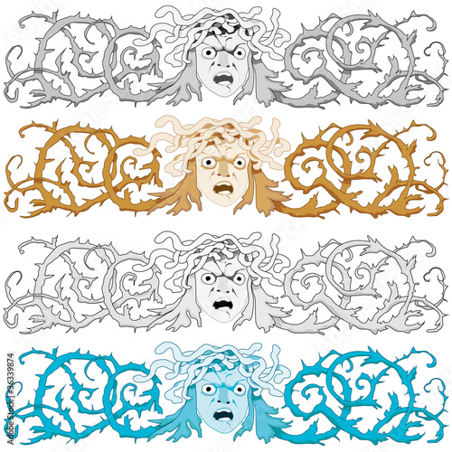 Head of Medusa Gorgon with snake hair, vector illustration