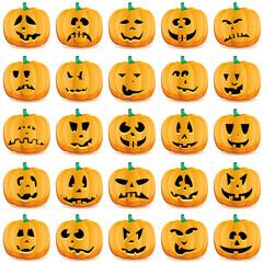 Halloween pumpkins as Jack O`Lantern, vector