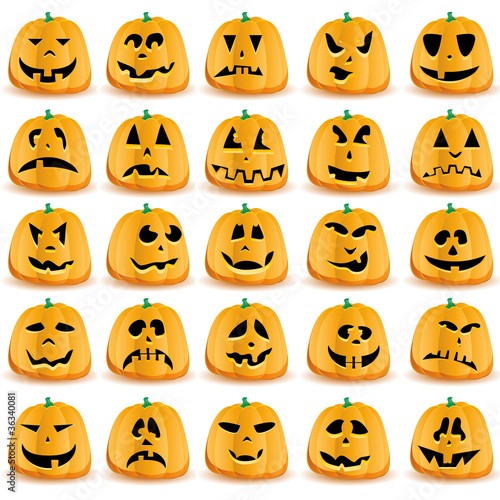 Set of 25 halloween pumpkins with Jack O`Lantern face