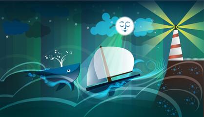 Balena mare luna barca faro scogliera