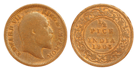 Old Indian Half Pice Coin of 1903