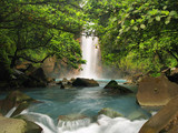 Celestial blue waterfall poster