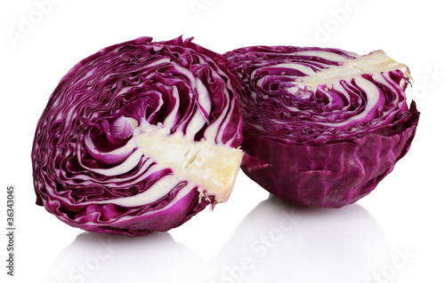 beautiful red cabbage isolated on white