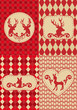 christmas pattern with deer labels, vector
