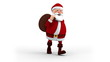 Cartoon Santa Claus with gift bag walking on the spot - front