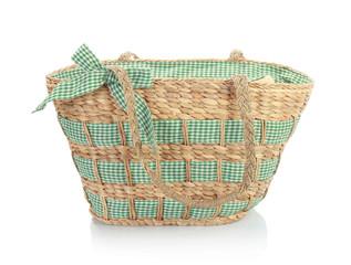 unique green wicker bag