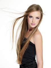 Beautiful teen girl with long  hair