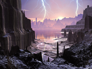 Violent Storm over Distant Alien City